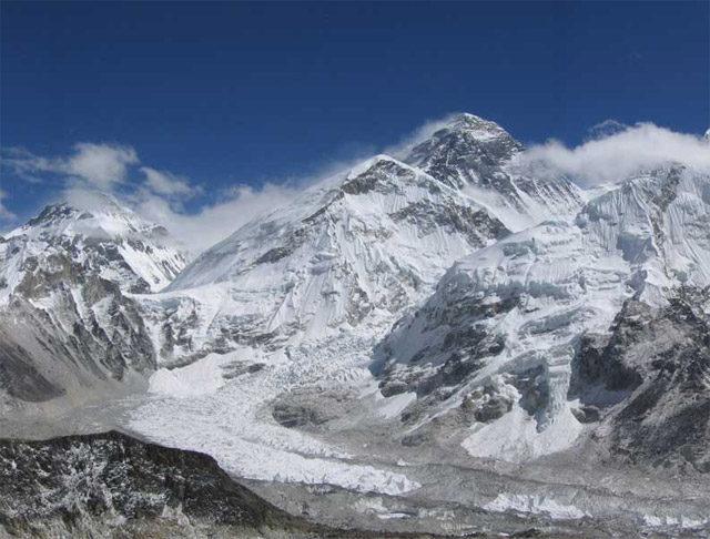 Mount Everest och Khumbu Icefall